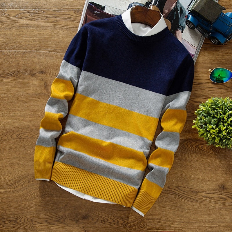 BKTrend 2017 New Autumn Fashion Men's Pullover Sweaters Long Sleeve Round Neck Striped Knitting Cashmere Christmas Sweater Men-geekbuyig