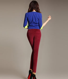 new Autumn women's stretch long pants corduroy high quality pencil feet pants-geekbuyig