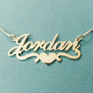 Heart With Personalized Name Necklace & Pendants For Women Custom Letter Jewelry Stainless Steel Gold Filled Bridesmaid Gifts-geekbuyig