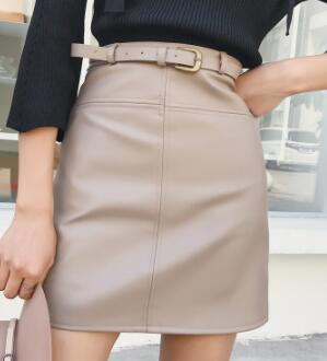 Autumn Winter Beige Black A-Line PU Leather Skirt For Women High Waist Office Wear Skirts Female short Skirt with Belt 40-geekbuyig