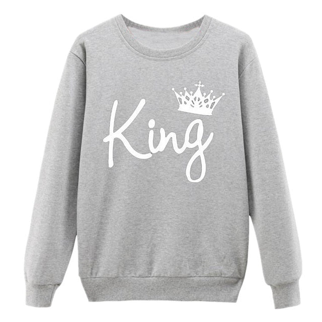 Vsenfo King Queen Couple Swetshirt Crewneck Pullover Long Sleeve Loose Hoodies Men Women Lovers Sweatshirt Hood-geekbuyig