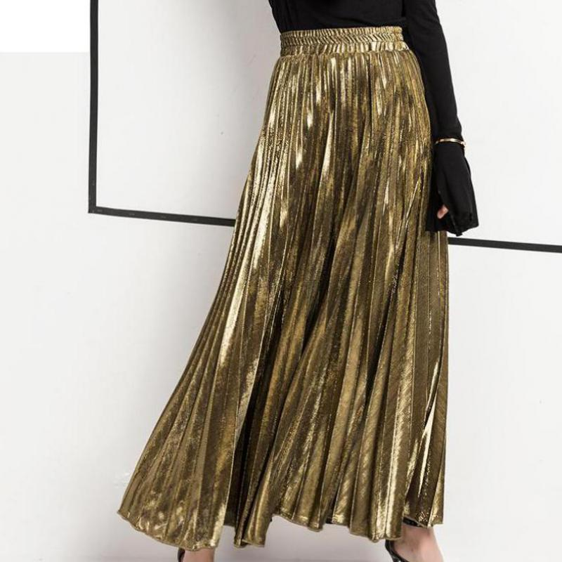 Women's Skirt New Summer Long Skirt Fashion Color All-match Slim Pleated Skirt free shipping 2018-geekbuyig
