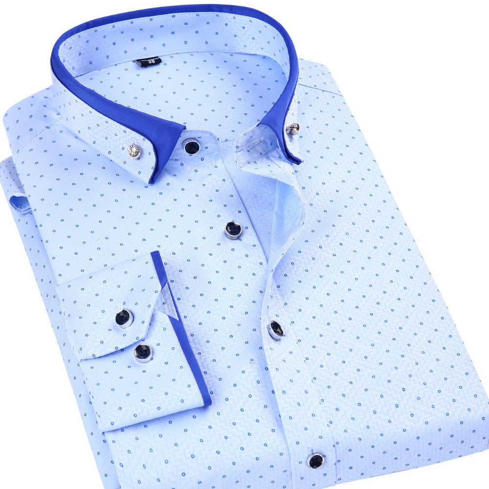 Men's Regular Fit Polka Dot Print Dress Shirt Fashion Design Button-Down Collar Men's Clothing Social Formal Business Shirts-geekbuyig