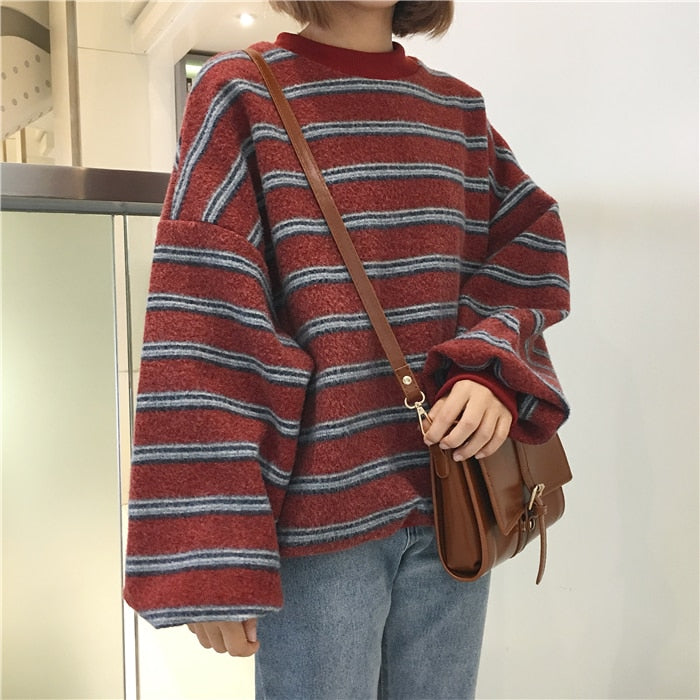 South Korea ulzzang Harajuku wind loose bf hit color stripes thickened woolen long sleeves sweater female Korean-geekbuyig