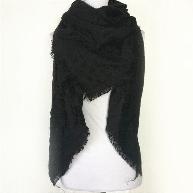 Winter Luxury solid scarf Cashmere Scarves hot Women scarves warm Triangle shawl-geekbuyig