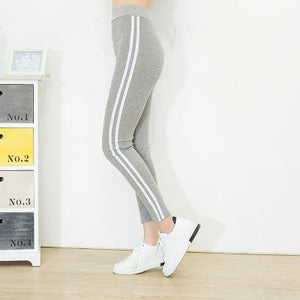Wsfs Black Grey Knitted Fitness Leggings Striped High Elastic Waist Pants Bandage Trouser Women Pencil Pantalones Mujer Femme-geekbuyig