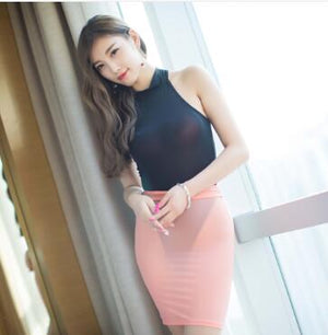 Sexy Snake Leopard Ice Silk Tight Pencil Skirt See Through Mini Skirt Transparent Club Skirt Fantasy Erotic Wear Candy colors 13-geekbuyig
