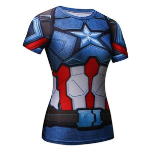 Devin Du High Quality Women T-shirt Bodys Captain America/superman/spiderman Compression T Shirt Girl Fitness Tights-geekbuyig