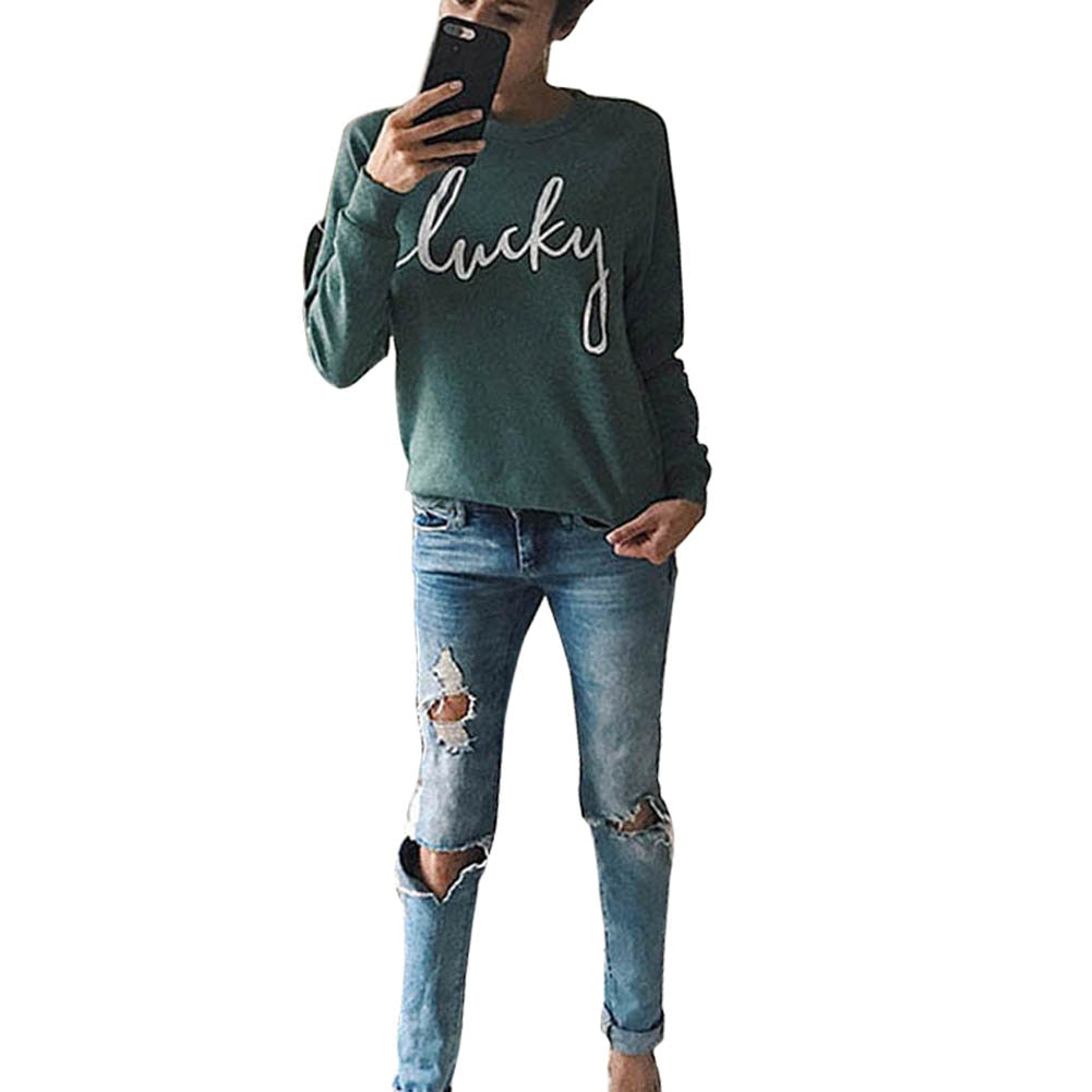 Autumn Winter Women Letters Printed Tracksuit Casual Long Sleeve Sweatshirt Pullover Tops JL-geekbuyig