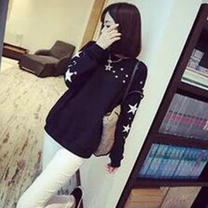 Thin Style Women Hoodies Sweatshirts Fashion Star Print Long Sleeve Round Neck Hoody Pullovers Casual Loose Sudaderas Mujer-geekbuyig