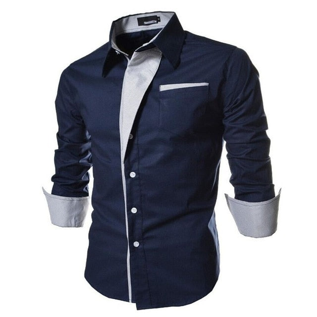2017 new brand long sleeve shirts social male 5 colors slim fit striped shirts plus size 3xl mens dress shirts-geekbuyig