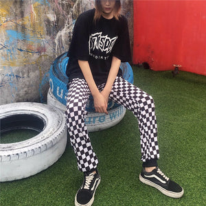 2017 New Fashion Black White Plaid Simple Loose Casual College Wind Elastic Waist Female Long Pants-geekbuyig