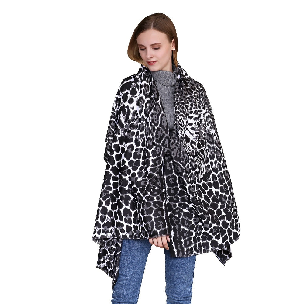New Design Leopard Autumn Winter Scarf Women Fashion Long Soft Animal Leopard Print Shawl Scarf Wraps Ladies Voile Scarves-geekbuyig