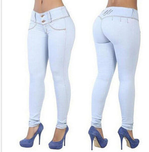 Women Ladies Fit Stretch Ripped Skinny High Waisted Solid Denim Pants Jeans 2017 New Woman Clothing-geekbuyig