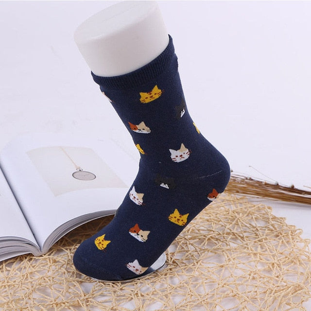 1 pair Women Funny Socks Casual Boat Low Cut Summer Style Candy Color Funny Cute Cats Faces Short Ankle Socks Crew Hot New-geekbuyig