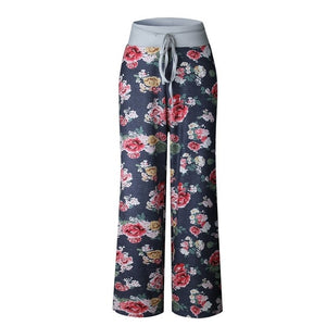 Wuhaobo Spring Summer Autumn Winter Women Loose Trousers 2017 Fashion Flower Print Drawstring Wide Leg Pants Plus Size Trousers-geekbuyig