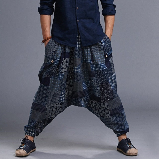 Chinese Style Harem Pants Men Fashion Hip Hop Street Dance Trousers Cross Loose Pants Casual Drop-crotch Saggy One Size Y524-geekbuyig
