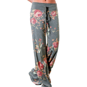 Causal Women Autumn Flower Print Pants 2017 Drawstring Wide Leg Pants Loose Straight Trousers Long Female Plus Size Trousers-geekbuyig