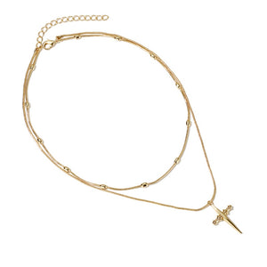 LWONG New Gold Color Cross Twisted Chain Choker Necklace Female Hanging Bead Charms Pendant Chokers Necklaces Jewelry Gifts Boho-geekbuyig