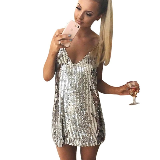 Deep V Neck Autumn Silver Sequined Backless Sexy Dress Women Off Shoulder Mini Dress Christmas Party Club Strap Dresses Vestidos-geekbuyig