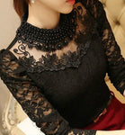 Plus size Sexy Lace Chiffon Tops Autumn Women Blouses Shirts lace blouse long sleeve Casual shirt beaded blusas Women clothing-geekbuyig