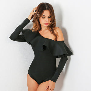 Good Quality Women's Sexy Bodysuit Top One Shoulder Ruffles Body Top Long Sleeve Combishort Femme Solid Color Overalls For Women-geekbuyig