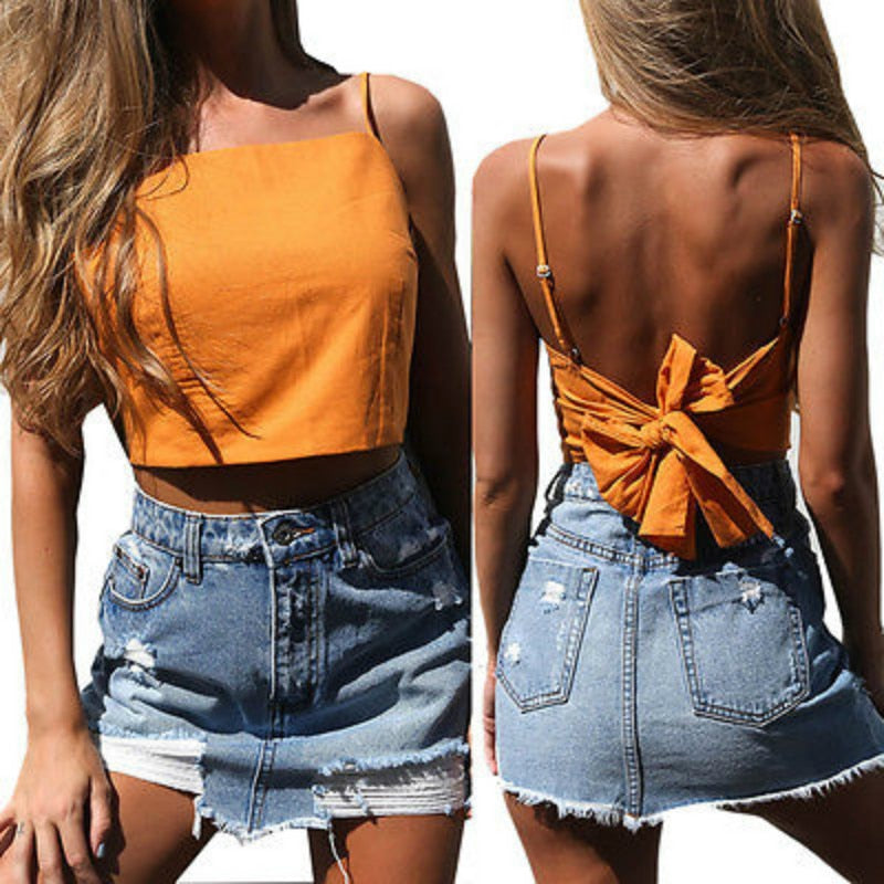 Fashion Women Summer Halter Backless Bowknot Strapless Tanks Top Vest Camis Sleeveless Bodycon Party Club Crop Tops Clubwear NEW-geekbuyig