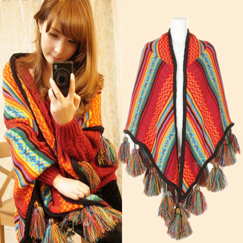 Winter Women Shawl Overwear Coat Scarves Boho Cardigan Knitted Poncho Capes Loose Scarf Wraps With Tassel Hot Sale-geekbuyig