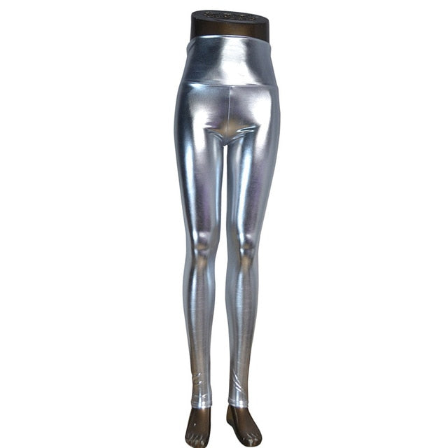 DISSIMILAR High waist Shiny Wet Liquid Look PU Faux Leather Metallic Stretchy Leggings Sexy Dance Pants Disco leggins 5 sizes-geekbuyig