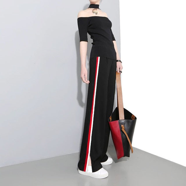 SuperAen Autumn and Winter New Casual Long Pants Women's High Waist Wild Korean Style Girls Pants Wide Leg Pants Striped Pants