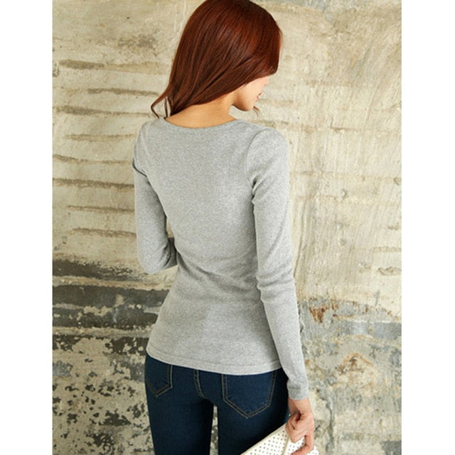 Women Autumn Fashion O neck Slim Long Sleeve Button T Shirt for Lady Winter Casual Warm Tops Camiseta-geekbuyig