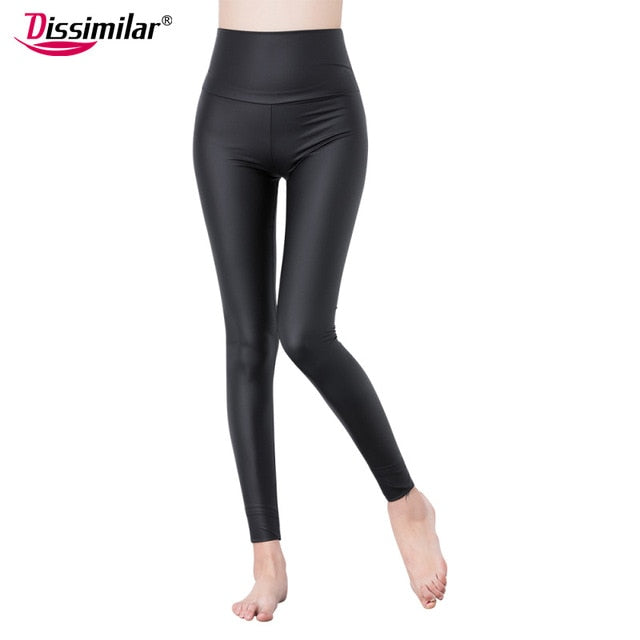 DISSIMILAR Hot High Waist PU Leather leggings Sexy Skinny Black leather Matt Black Leggins Ankle-length Stretchy Pants for Women-geekbuyig