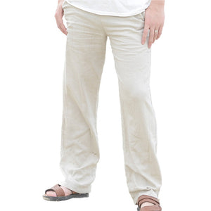 Causal Linen Pants Men High Quality Summer Breathable Man Compression Pants Asian Size M-XXXL Solid Color Comfortable Trousers-geekbuyig