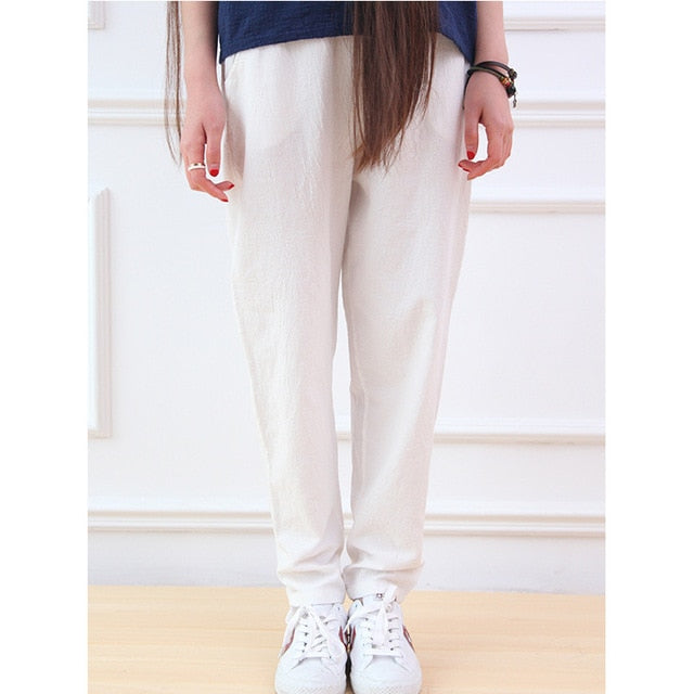Solid Elastic waist Linen cotton White Women Pants Loose Casual Summer Harem Pants Women Brand Design Full length Trousers C044-geekbuyig