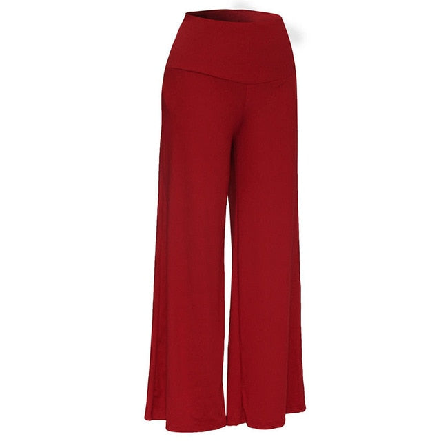 New 2017 Women Lady Trousers Palazzo Stretch Wide Leg High Waist Long Loose Casual Pants Solid Plus Size S-XXXL-geekbuyig