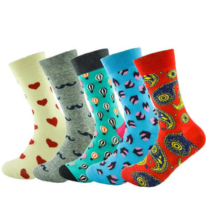 Hot 5pairs/Lot fashion mens combed cotton long socks men socks set colorful funny happy socks wedding sock business sock gift-geekbuyig