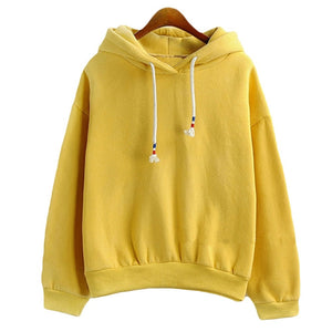 Women Hoodies Sweatshirts New Hot Sale Candy 10 Color Long Sleeved Thick Casual All-match Solid Leisure Hooded Hoodie Loose Tops-geekbuyig