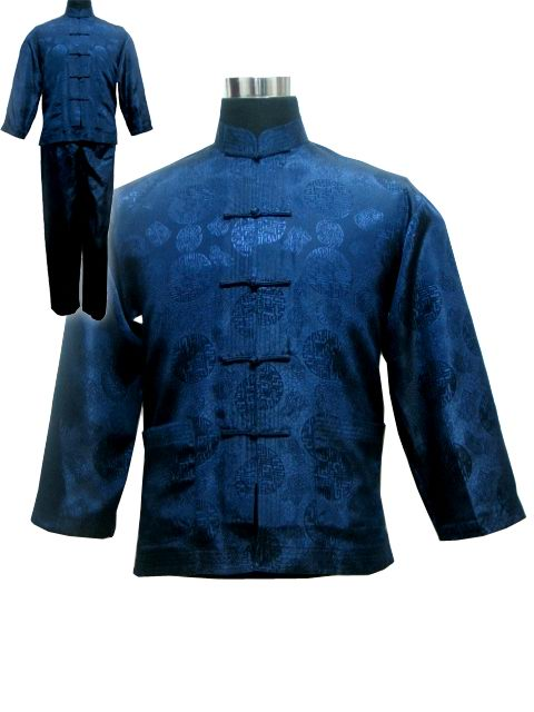 Vintage Navy Blue Chinese Men Satin Pajama Set Plus Size XXXL Pyjamas Suit Long Sleeve Shirt &Pants Trousers Sleepwear Nightwear-geekbuyig