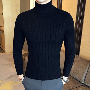 Winter High Neck Thick Warm Sweater Men Turtleneck Brand Mens Sweaters Slim Fit Pullover Men Knitwear Male Double collar-geekbuyig