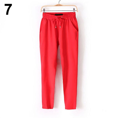 2016 New Women's Casual Solid Color Drawstring Elastic Waist Chiffon Trousers Harem Pants-geekbuyig