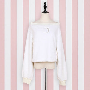 Harajuku Pullover Moon Hollow Out Embroidery Thick Fluffy Punk Sexy Women Short Sweatshirts Off Shoulder Loose Top Long Sleeve-geekbuyig
