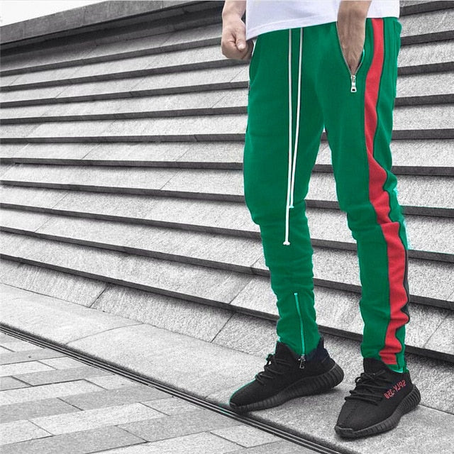 NEW Men Casual Lace Up Pants Jogger Stitching Color Zipper Open Leg Trousers Fitness Loose Long Pants Workout Legging Sweatpants-geekbuyig