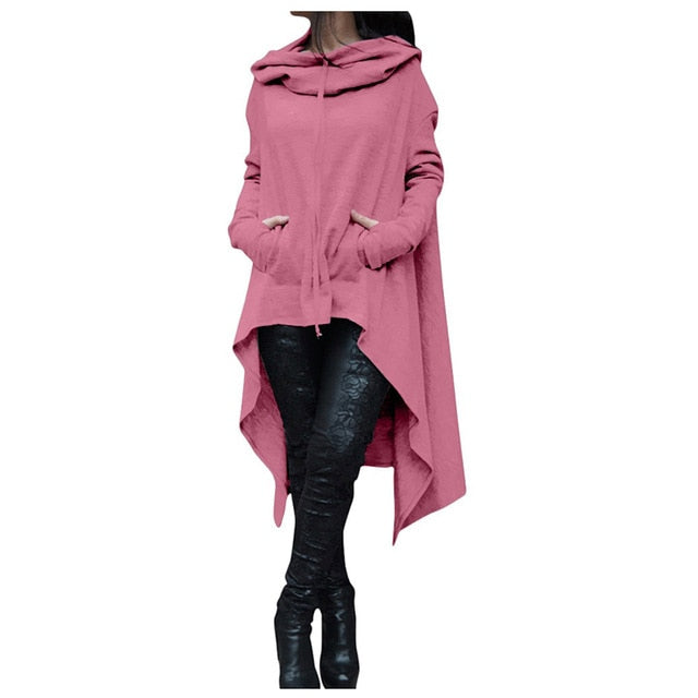 MYTL Winter Women Hooded Sweatshirts Cloak Cape Long Sleeve Pullovers Cotton Long Hoodie Loose Irregular Plus Size Hoodie-geekbuyig