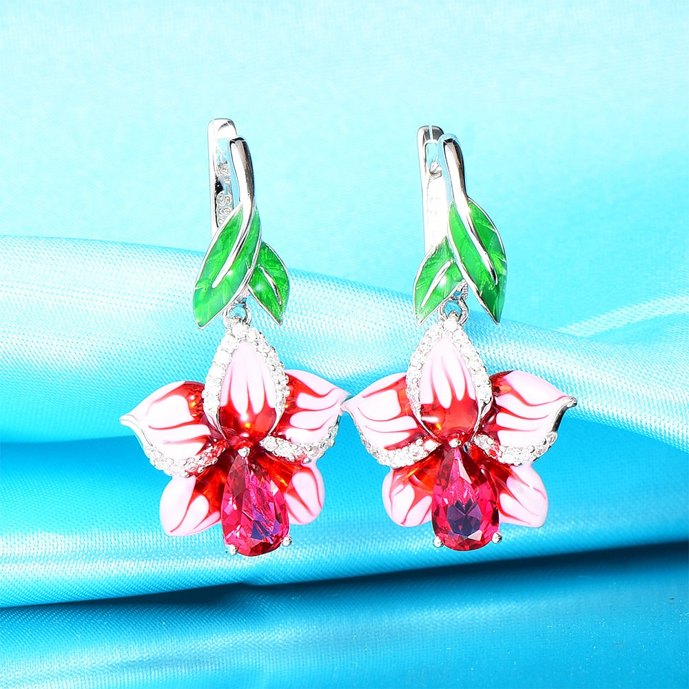 WindJune Enamel Flower Silver Drop Earrings Engagement 925 Sterling silver Earring for women Jewelry Handmade Party Jewelry-geekbuyig