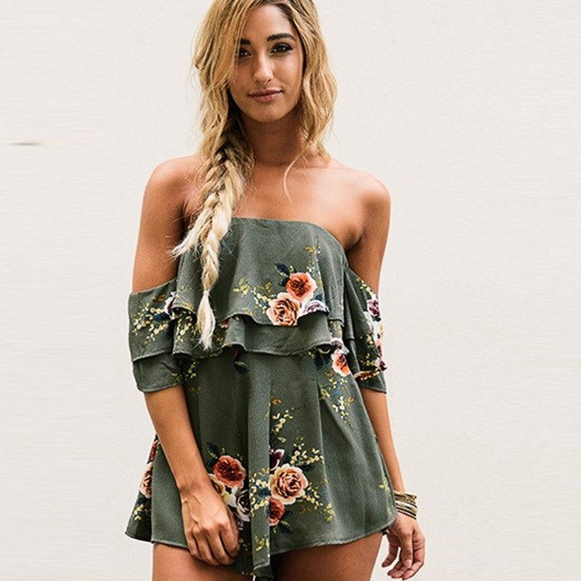 2018 Ruffles off shoulder print jumpsuit women High waist backless sleeveless flower green playsuit Summer causal beach overalls-geekbuyig