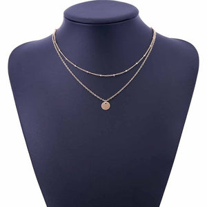 FAMSHIN Summer Stylish simplicity Copper beads chain metal Sequins Multilayer necklace Women Necklace-geekbuyig