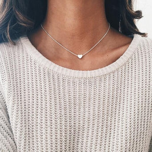 New Tiny Heart Necklace for Women SHORT Chain Heart Shape Pendant Necklace Gift Ethnic Bohemian Choker Necklace drop shipping-geekbuyig