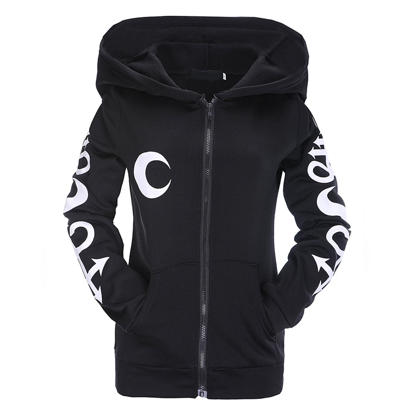 Gothic Punk Women Hoodies Witch Moon Print Loose Hood Long Sleeve Casual Thin Sweatshirt Black-geekbuyig