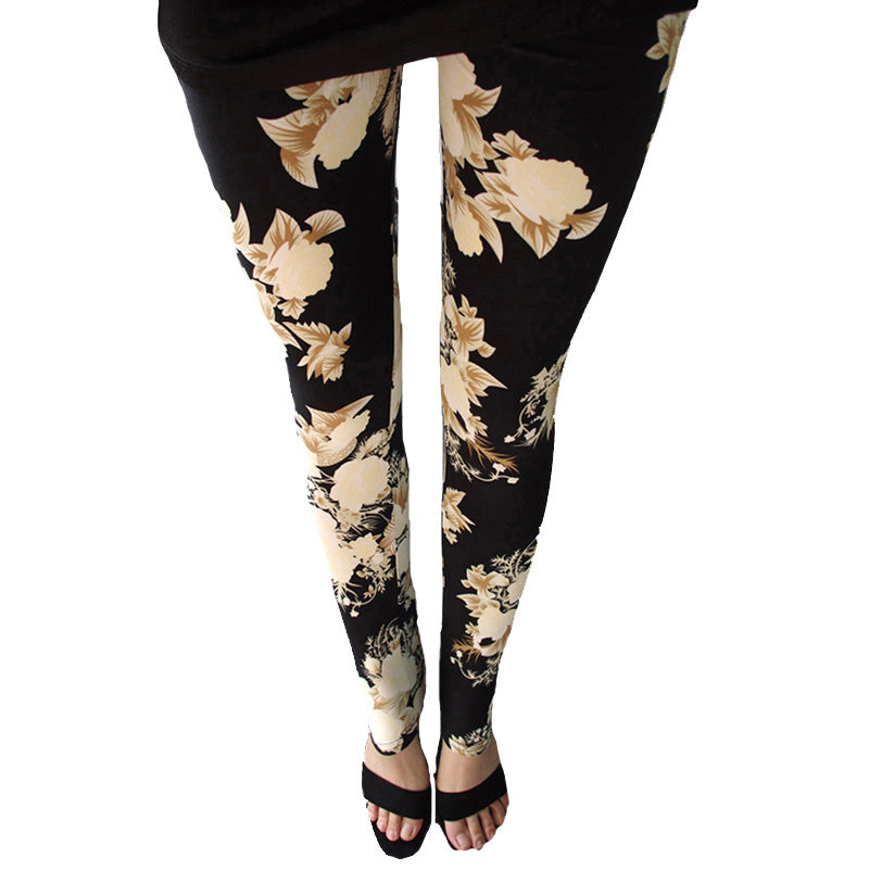 New Rose Flower Printed Leggings Fashion Sexy Women Lady Slim High Elastic Cotton Pants Multiple Colors Styles Trousers In Stock-geekbuyig