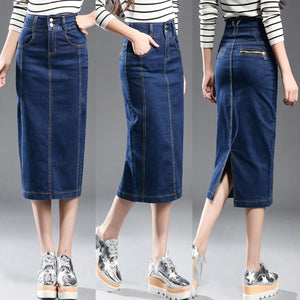 New 2017 Denim Skirt Women Plus Size Casual High Waist Denim Skirts Pencil Patchwork Stretch Slim Hip jean Skirt Long 8XL-geekbuyig